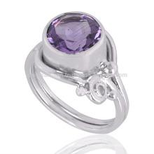 Amethyst Gemstone 925 Sterling Silver Ring Wholesale Fabricante de Jóias de Prata