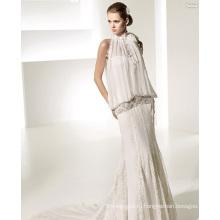 Элегантное шифоновое свадебное платье со шлейфом и кружевным шлейфом