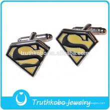 """Hot Sale Silver Cufflink Super Man """"S"""" Stainless Steel Dress Shirt 1 Pair Superman Cufflinks"""