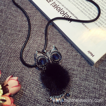 Cute Metal Owl Charm With Fur Pom Cool Chokers Necklace