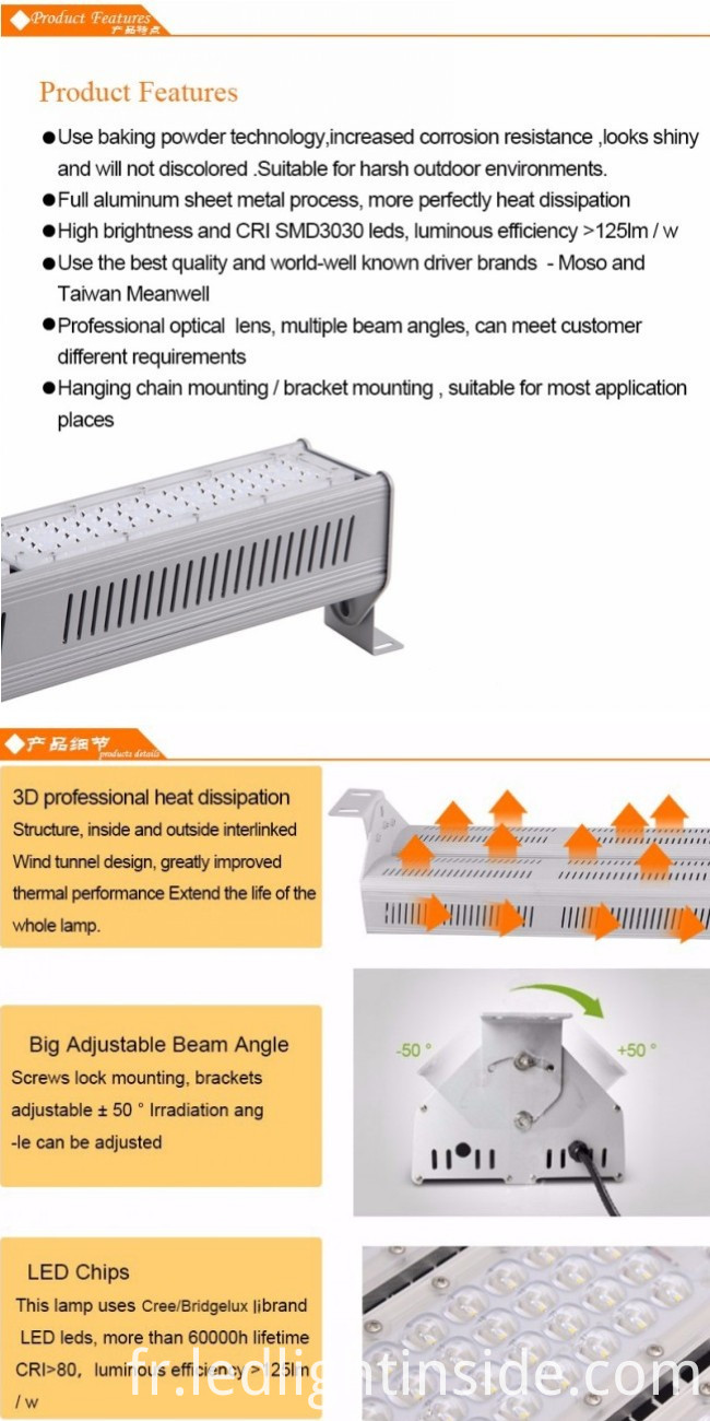 100w recessed led linear light