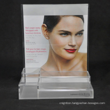 Shop Shelf Display Clear Acrylic Cosmetic Makeup Display Stand with Advertising Poster