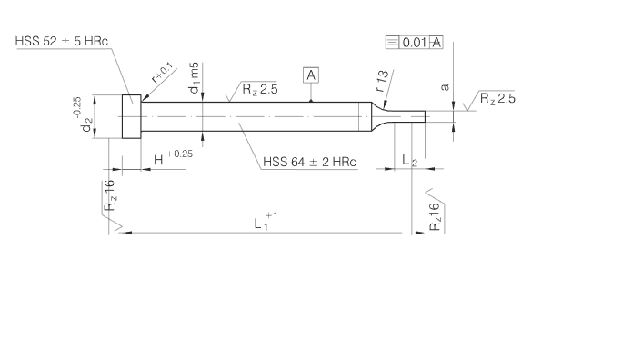 ISO8020 Shaped Punches with Cilindrical Head HSS