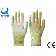 Садовые перчатки, печать Полиестершелл Прозрачный нитриловый лак с гладкой отделкой, Рабочие перчатки безопасности с Ce, En388 (N6047)