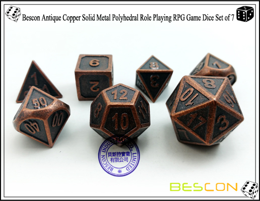 Bescon New Style Antique Copper Solid Metal Polyhedral Role Playing RPG Game Dice Set (7 Die in Pack)-4