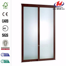 72 in. x 80 in. Frosted Glass Fusion Frosted Choco Frame Sliding Door