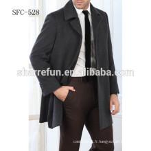 2015 vente chaude hiver manteau de laine pour hommes gris