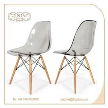 silla plástica cristalina durable del salón del precio de fábrica en venta