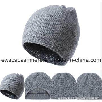 Chapeau pur de cachemire de catégorie supérieure de couleur unie des hommes A16mA1-001