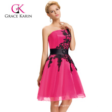 Grace Karin New Color Short One Shoulder Cocktail Deep Pink Homecoming Party Dresses CL4288-2