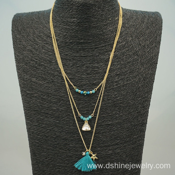 Customized beaded Long Tassel Layered Chain Boho Necklace