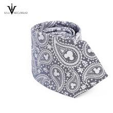 Novo estilo magro gravata gravata de seda impressa barato