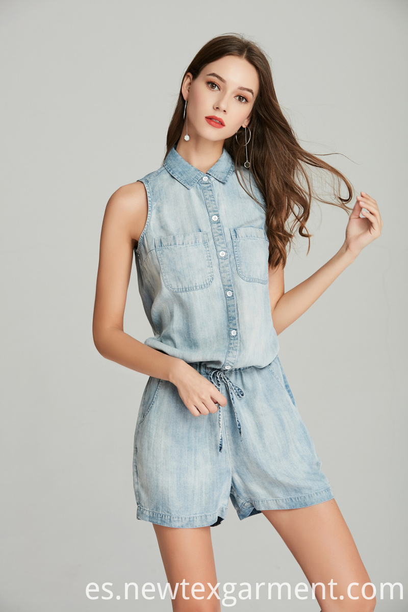 LADIES DENIM SHORTALL