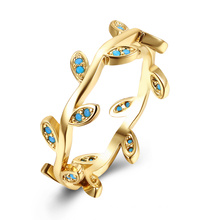 Leaf Shape Gold Rings for Women Popular Gold Plated Rings Kallatie Stone Women Jewelry