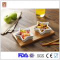 Hot sale white ceramic star shape tapas set with bamboo tray
