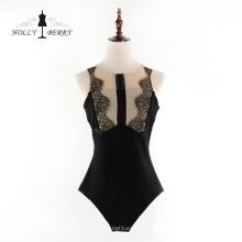 Fleisch Strumpfhose Verbundene Kleidung Neue stilvolle schwarze Spitze Sexy Kleider Frauen