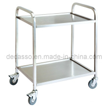 Stainless Steel Two Layers Liquor Service Trolley (DE35)