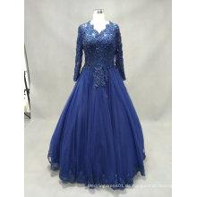 Langes Hülsen-V-Ansatz-Spitze-blaues Ballkleid-Abend-Kleid