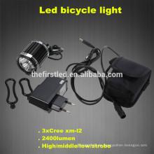 2400Lm Scheinwerfer 3X CREE XM-L T6 LED Kopf vorne Fahrrad Fahrrad Licht Scheinwerfer Fahrrad Lampe