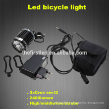 2400Lm Faro principal 3X CREE XM-L T6 LED delantero de la bicicleta de la bicicleta luz de la bicicleta Faro de la lámpara de la bicicleta