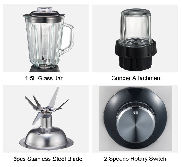 1.5L 2-Speed Kitchen Smoothie Blender With Glass Container