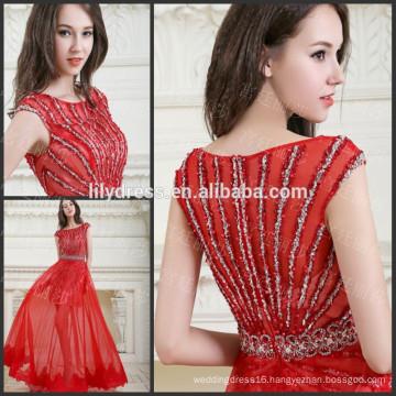 Red Cap Sleeve Floor Length Custom Made Designs Evening Party Wear Robe De Soiree ED222 2015 elegant evening dresses