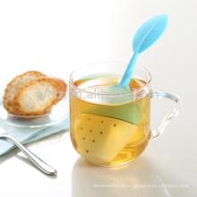 Горячие продажи новый дизайн формы листьев керамические infuser чая силикона