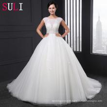 SL-021 Luxury Beaded Pearls Scoop Neck Ball Gown Wedding Dress 2016