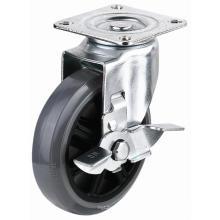 EG01 Roulette pivotante PU avec frein latéral (gris)