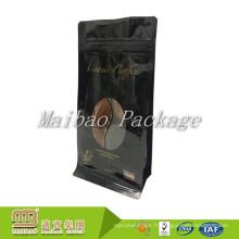 Bas de fermeture à glissière inférieur en plastique stratifié de bloc de bloc noir d'une seule manière empaquetant des sacs de café faits sur commande avec voir à travers la fenêtre