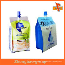 OEM resealable laminated plastic liquid soap bag with spout 200ml 400ml