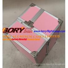 Rosa Gator Make-up Tasche mit Traysleek, Rosa Croc Design Aluminium Make-up Tasche mit mehreren Speicherfächer