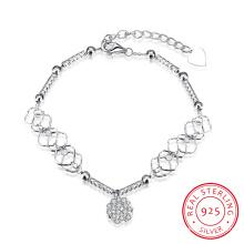 Heißer Verkauf Europa 925 Sterlingsilber-Armband-hängender Verbindung mit Kette Schöne Kristallsilberne Schmucksachen