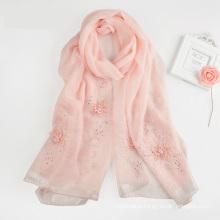 2017 New arrival fashion women long handmade embroidery digital silk scarf shawl silk hijab scarf beaded hijab silk scarf