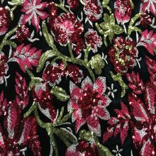 Tela de bordado de terciopelo de lentejuelas de flores de colores
