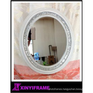 Round Crackle Wall Mirror Handmade Broken Glass Mosaic Silver Frame 40 x40cm New