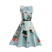 Latest One Piece Sleeveless Summer Flower Printed Girl Causal Dress