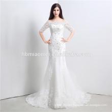 Rhinestone laced korea design wedding dress for bridal off-shoulder floor length wedding dress detachable skirt