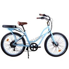 2015 fashionable design CE cheap blue color beach cruiser electric bike