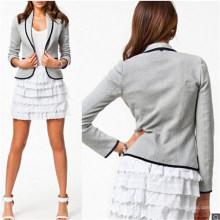 Costume de Blazer de femmes d'affaires décontracté de mode bouton col mince (50087)