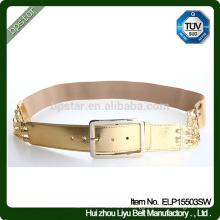 Fashion New Design Elegant Lady Wide Elastic Gold Waistband .Women Metal Buckle Belt