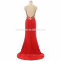 Vestido de fiesta de cuello alto al por mayor de las mujeres del diseño del alto vestido del halter de la alta fractura sin respaldo puffy vestido rojo con pesado rebordear y cola pequeña