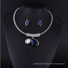 Große Saphirglas und große Perle Zink Legierung Halskette Set