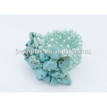 Turquoise Chip Stone Stretch Seed Perles de verre Ring