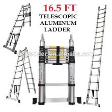Escalera de aluminio telescópica doble Euro 5 metros (17 pies) - Almacenes a 3 pies - Marco 9 pies - Portátil ultraligero - Bisagra de desbloqueo rápido