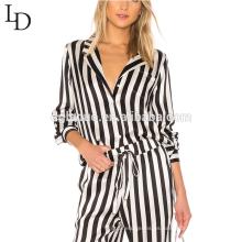 Las pijamas al por mayor de las camisas de noche de adulto de las mujeres del cuerpo completo fijaron el pijama de seda