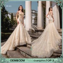 Sexy Hochzeitskleid vestido de novia China goldene Spitze Fisch Brautkleider Brautkleid mit schweren Perlen