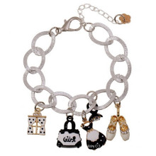 2015 Fashion silver chain bracelet shoes handbag dress charms bracelet for girls