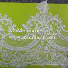 White Appliqued Lace Fabric Cord Lace with Flower Bridal Lace Fabric CT455-T58