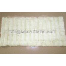 Top quality natural white color rex rabbit neck fur plate